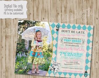 Alice in Wonderland Birthday Invitation, Mad Hatter Tea Party Invitation, Alice in Wonderland photo birthday invitation tea party invitation