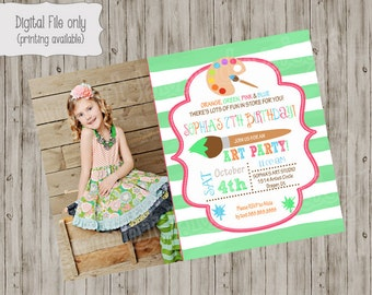 Art Party Invitation / Photo Art Party Invite / Art Party / Art Invitation / Art Birthday / Art Party Printables / Painting Party invitation