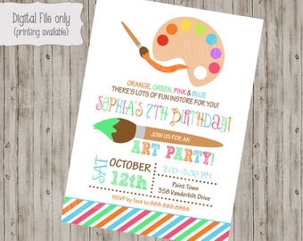 Art Party Invitation / Art Party Invite / Art Party / Art Invitation / Art Birthday / Art Party Printables / Painting Party invitation