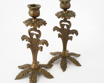 Vintage Solid Brass Deco Goth Candlesticks Candle Holders