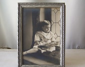 Vintage Photo Picture Frame Young Boy Sailor Suit Button Top Shoes Holding Toy Boat Vintage 1930s Nursery Decor