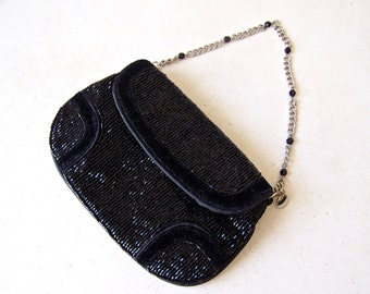Vintage Black Velvet Beaded Purse Liz Claiborne Shiny Black Bag 1970s