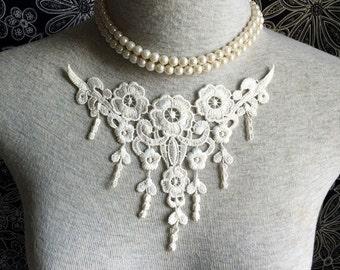 Vintage Applique - 1 pcs Ivory Flower Applique Lace Trim (A242)