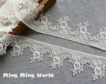 Ivory Lace Trim- 2 Yards Ivory Delicate Flower Lace Trim(L576)
