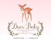 Dear Baby - Premade Etsy Shop Banner set -  Whimsical Deer