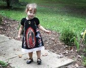 Our lady of Guadalupe Mexican girls dress Sizes 2T to 8 in black or cream