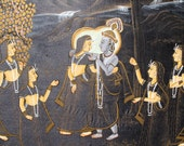 "Black and Gold Krishna Pichwai Silk Painting, Wall Hanging, Wall Tapestry-18x28""inches"