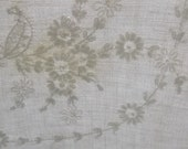 Vintage Tablecloth or Topper in Eggshell Linen, White Floral Embroidery