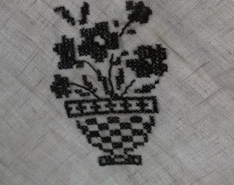 Vintage Tablecloth or Topper in Off White Linen, Black Cross Stitch Embroidery