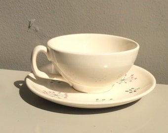 Vintage Franciscan Echo pattern coffee cup and saucer.  Gladding McBean & Co. Made in California mid century