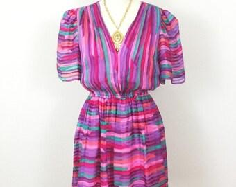 70s Silk Dress/ Pink Pastel Geo Striped/ Silk Chiffon/ 70s /80s Mini Dress / Size Small