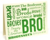 Bro Greeting Card - Thank You note with envelope, gift for men, brother, guys, friends, best man groomsman