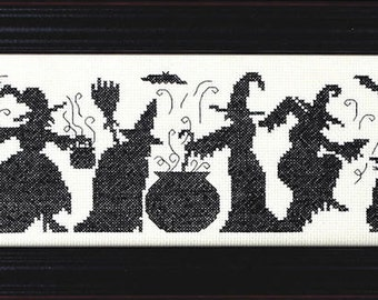 Halloween Season of the Witches Cross Stitch Pattern -  Autumn Fall Halloween Witch Counted Cross Stitch Pattern Chart - cross stitch witch