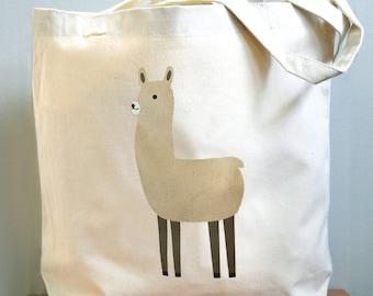 Llama canvas tote bag.
