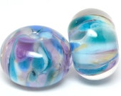 PAIR lampwork beads... SRA handmade, encased classic frits (cotton candy) pair for making jewelry MaDE to ORdeR