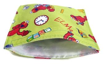 SALE Reusable snack bag, reusable sandwich bag, ziplock alternative, elmo, elmo bag, eco bag, Sesame Street snack bag, Elmo sandwich bag