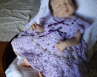 2-4 Month Purple NEW Hand Crocheted Precious Gown Dress and Cotton Slip
