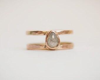 Janus Ring with Rose Cut Diamond