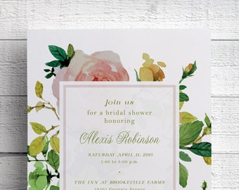 Watercolor Floral Bridal Shower Invitation, Bridal Shower Tea, Watercolour, PDF, JPEG, DIY, Invitation Printable, Luncheon