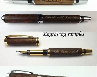 Wooden pen handmade - oak wood, black chrome plating, fancy slimline style. Ball point pen refil. Writing instrument for gift or office