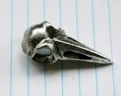 Silvery Bird Skull Pendant Bead Charm