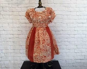Orange Print Peasant Dress