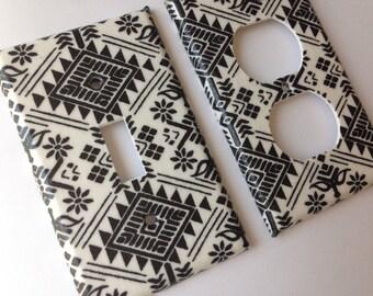 Aztec Light Switch Plate Cover/ Black White Single Light SwitchPlate Cover/ Nursery Decor / Tribal Art / Teen Bedroom / Bathroom Decor Gift