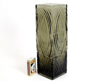 Rosenthal Art Glass Vase Design M. Freyer Wood Structure Relief Texture W. Germany Mid Century Art