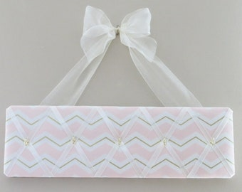 READY TO SHIP - Original Girls French Accessory Hanger and Bow Holder - Pink White Gold Chevron - 5 hooks