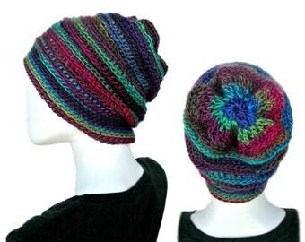 Crochet Hat Pattern - Penelope's Whimsical Floral Slouch Beanie Hat crochet pattern