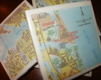 Map Coasters - Jupiter Florida Map Coasters...Set of 4...Full Cork Bottoms...For Drinks and Candles
