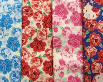 Hello kitty Rose garden fabric small set 4 of 9.8 inches x 11.8 inches fabrics set