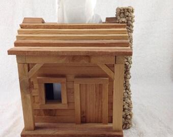 Wooden Cabin Tissue Box