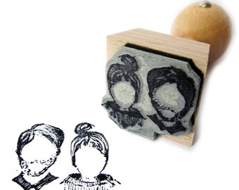 mini-me pencil stamp with 1 or 2 portraits