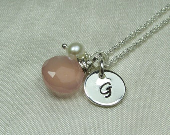 Initial Necklace Personalized Necklace Bridesmaid Gift Monogram Necklace Chalcedony Bridesmaid Necklace Personalized Bridesmaid Jewelry