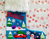 Off to Get the Tree - Personalized Christmas Stocking - Custom Personalized Felt Stocking
