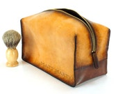 Brown Toiletry Bag - Travel Kit -Dopp Kit - Customizable - Free Personalization