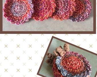 Crocheted pumpkin coasters
