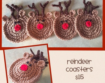 Crocheted reindeer coasters