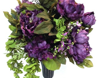 "SALE Tuscan Style Silk Fall Floral Mix Arrangement Floral Centerpiece  22""X15"" Sage Green Plum Purple Hydrangeas Peonies"