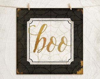 Boo - 12x12 Art Print -Wall, Vintage, Home Decor, Holiday, Halloween, Word Art, Spiderweb -Black, White, Gold