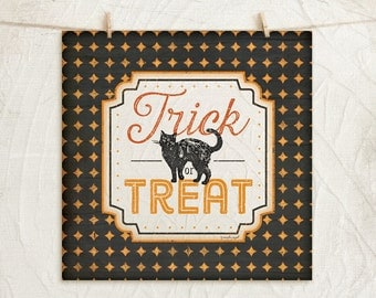Halloween Trick or Treat - 12x12 Art Print -Wall, Vintage, Home Decor, Holiday, Halloween, Word Art, Cat-Black, Orange, White