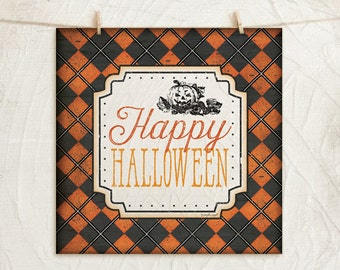 Happy Halloween - 12x12 Art Print -Wall, Vintage, Home Decor, Holiday, Halloween, Word Art, Pumpkin-Black, Orange, White