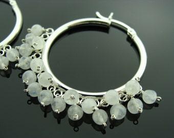 Rainbow Moonstone Hoops Sterling Silver Earrings
