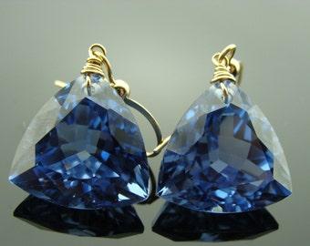 14k Solid Yellow Gold London Blue Topaz Fancy Cut Trillion Earrings