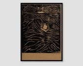 Beard Sea A4 woodcut print