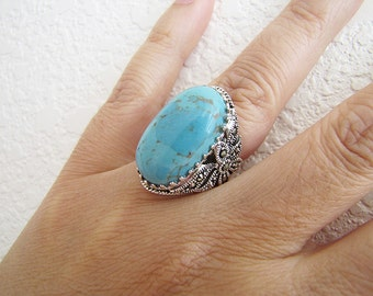 Turquoise Marcasite Sterling silver Ring, Size 6, statement ring
