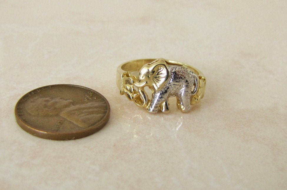 solid 14k gold elephant ring size 7 two tone lucky ring