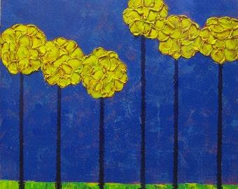 Impasto Yellow Trees...Original Whimsical Art