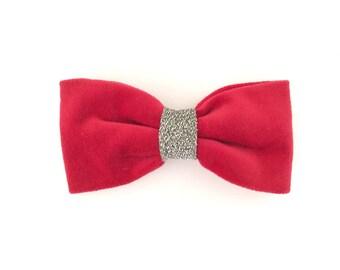 Vintage Hair Bow Barrette, Velvet, Pink, Fuchsia, Silver, Glitter